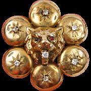 Victorian 14K 0.20 Carat Diamond Lion Head Pendant Garnet Eyes Mixed Metal
