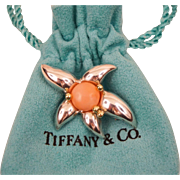 Tiffany & Co. Sterling Silver 18K Gold Angle Skin Coral Brooch Pin C1993