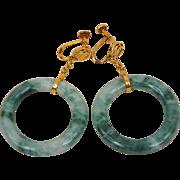 Vintage Chinese Mottled Green Jadeite Jade Hoop Earrings Screw Style 14K Gold