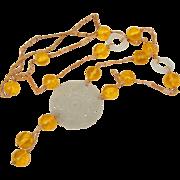 C1850 Chinese Mutton Fat Nephrite Hetian Jade Pendant Macrame Necklace with Yellow Peking Glass Beads