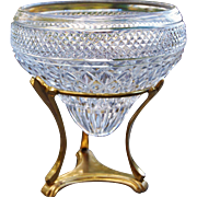 Elegant Cut Crystal Center Bowl Epergne on Brass Stand