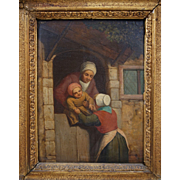 18th Century Dutch Oil Painting on Board Mother Handing Baby over the Door