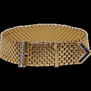 C1950 1 Ct Diamond Sapphire Buckle Bracelet 14K Yellow Gold Watch Band Style