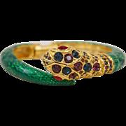 C1970 Kenneth Jay Lane Green Enamel Snake Bangle Bracelet Colorful Rhinestones