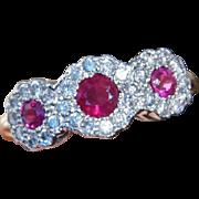 Edwardian Ruby Diamond Trilogy Cluster Ring 14K Yellow White Gold