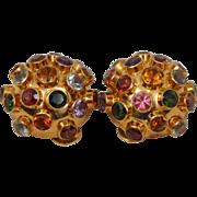 Large Vintage H.Stern Sputnik Earrings 18k Gold Colorful Gemstone Clip On