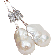Royal Style Huge Genuine Baroque Pearl Earrings Sterling Silver Wire Dangle