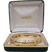 Ming's of Honolulu 14K Yellow Gold Pierced Leaf Scroll and Longevity Bangle Bracelet 12 mm 24 Grams