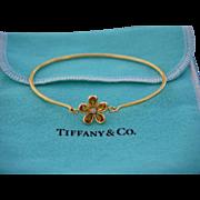 Tiffany & Co 18K Yellow Gold Citrine Diamond Sparklers Flower Bracelet
