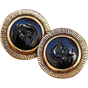 Large Pair C1970s Napier Black Intaglio Glass Cameo Earrings