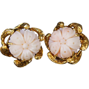 C1970s 14K Yellow Gold hand Carved Angle Skin Coral Flower Clip on Earrings Heavy 10.4 Grams