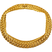 Les Bernard Goldtone Basket Woven Style Choker Collar Necklace