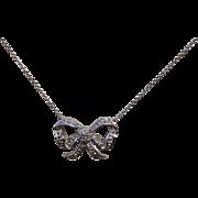Vintage Roberto Coin 18K White Gold Diamond Bow Necklace
