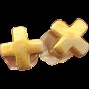 14K Yellow Gold X Post Earrings Studs