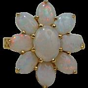 14K Yellow Gold Australian Fire Opal Cluster Ring