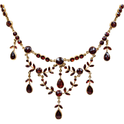 """Exceptional Victorian/Edwardian Solid 14K Yellow Gold Bohemian Rose Cut Garnet Garland and Swag Necklace 16"""""""