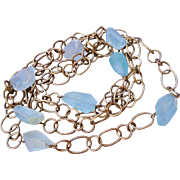 """Sterling Silver Hand Made Aquamarine Link Chain Necklace 38"""" 51.9g"""