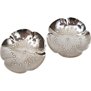 Pair Japanese 950 Sterling Silver Footed Open Salt Cellars Sakura Plum Flowers