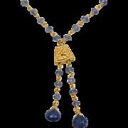 Solid 22K Wire Wrap Natural Cornflower Saphire Drop Necklace