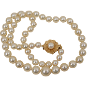 "C1950 High Quality Cultured Salt Water Pearl Necklace 14K Yellow Gold Flower Clasp 16"" 8.5-6 mm"