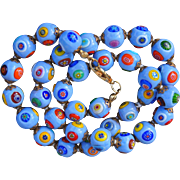 Vintage Italian Murano Glass Millefiori Beads 10 mm 17 inches