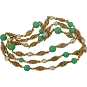 Art Deco Jadeite Jade and Natural River Pearls 14K Yellow Gold Filigree Link Chain Necklace