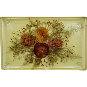 "Mid Century C1970s Pressed Flowers Real Pansy Lucite Vanity Serving Tray 14"" X 9"""