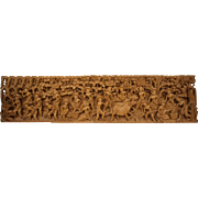 Large Intricate Bali Hand Carved Wooden Wall Decor Hanging Piece Story Board, 38 X 9 3/8 inches