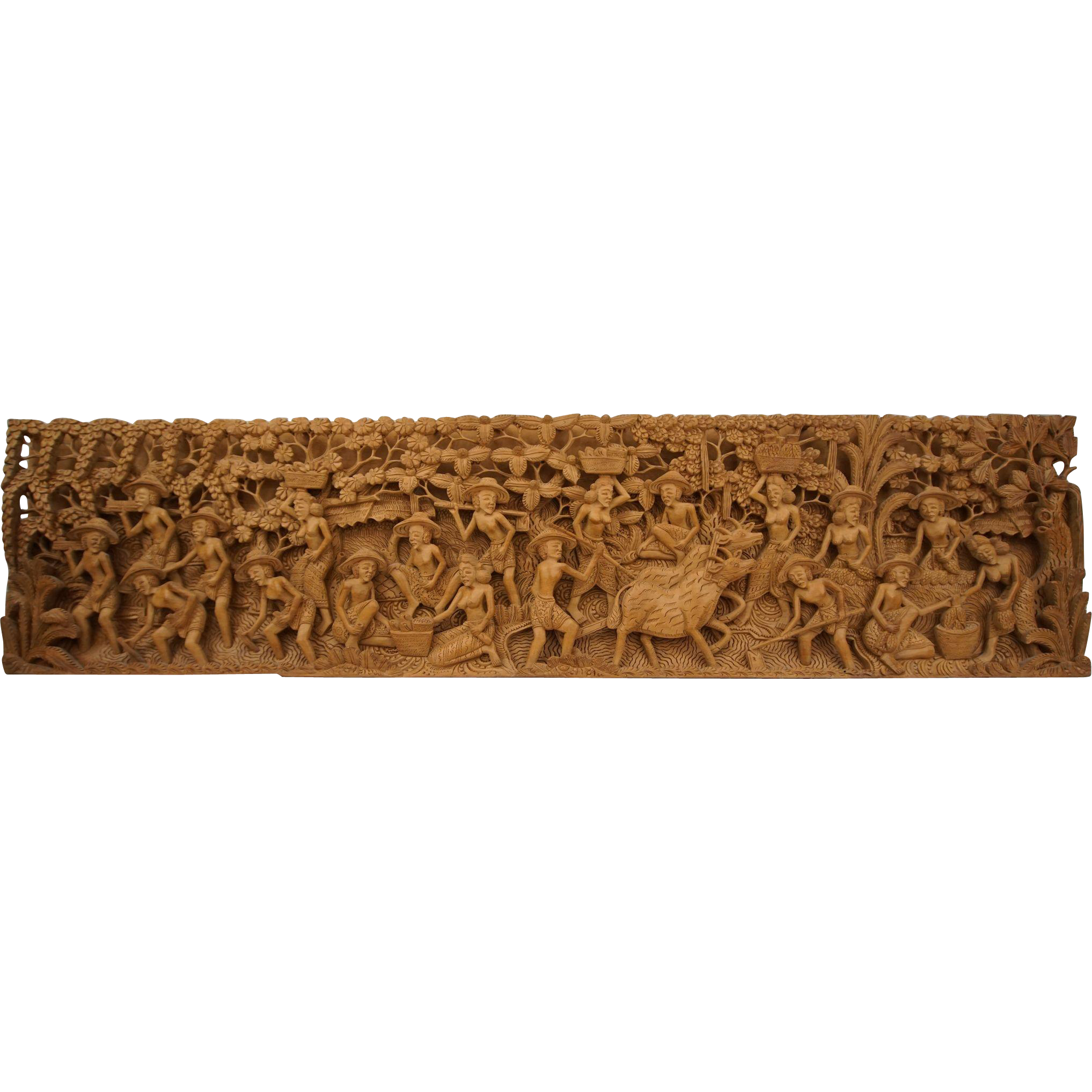 Wood Carved Wall Decor Large Intricate Bali Hand Carved Wooden Wall Decor Hanging Piece