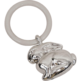 Hand Hammered Sterling Silver Baby Rattle with Teething Ring Bunny Rabit