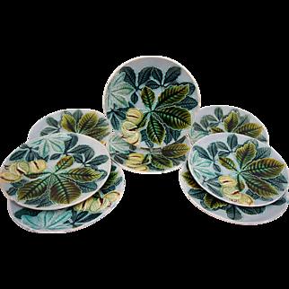 Set 8 Art Nouveau Richard Ginori Serpentina Chestnut Majolica Plates 8.5 Inches