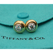 Vintage Tiffany & Co. 18K Yellow Gold Platinum Earring Studds 0.8 Carat