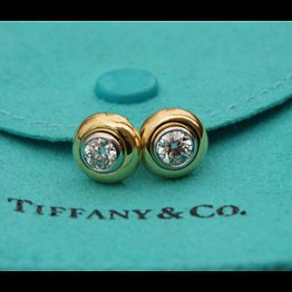 Vintage Tiffany & Co. 18K Yellow Gold Platinum Earring Studds 0.8 Carat
