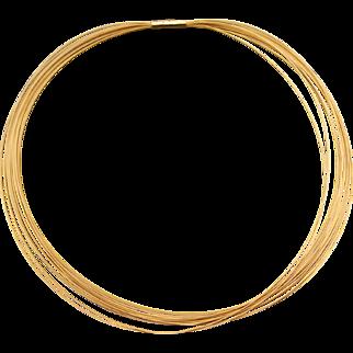 18K Yellow Gold Spaghetti Necklace 14 Strand Italian Designer