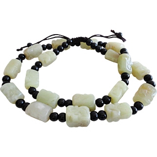 """Vintage Chinese Hand Carved Nephrite Hetian Jade and Black Onyx Beads Necklace 20""""-24"""""""