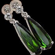 Fabulous 18K White Gold Green 5CT Chrome Tourmaline 0.2 CT Diamond Earrings Tear Drop Style