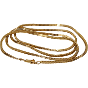 14K Yellow Gold 30 inch Fox Tail Chain Necklace 18.5 Grams 2 mm Wide