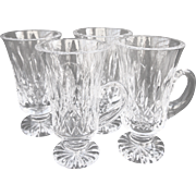 Set 4 Waterford Lismore Crystal Irish Coffee Mugs Cut Glass Etched Old Mark