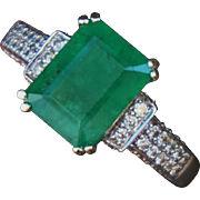 14K White Gold Natural Emerald and Diamond Ring 3.18 Carats Certificate
