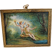 C1850 French Miniature Painting in Bronze Omulu Dome Glass Frame