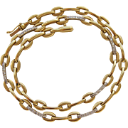 Vintage Roberto Coin 18K Yellow Gold Diamond Link Necklace