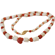 Red and White Coral Hand Carved Rosebud Necklace 14K Gold Clasp 18.5 inches