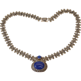 Art Deco Style Macarsites Sterling Silver Necklace with Large Lapis Cabochon Pendant