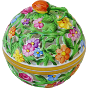 Herend Reticulated Spring Flowers Covered Bowl or Trinket Box Strawberry Finial
