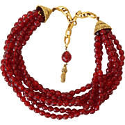C1950s 7 Strand Red Crystal Necklace Quality Vintage Costume Jewelry