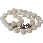 Sterling Silver Large Mother of Pearl MOP Beads Necklace 11 mm 16-18 inches