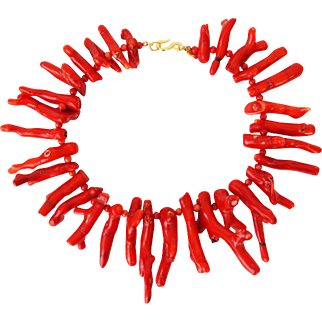 C1970s Kenneth Jay Lane Runway Chunky Genuine Branch Coral Necklace