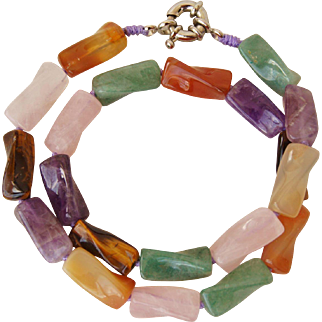 Pastel Color Semi-precious Stone Necklace Amethyst, Rose Quartz, Carnelian, Aventurine and Tiger Eye - Great for Easter