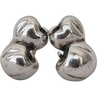 Retro Mapamenos Natepas Sterling Silver Double Apple Clip on Earrings - Jacqueline Kennedy's Private Greek Designer
