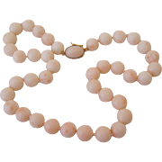Quality 18K Yellow Gold Carved Angel Skin Pink Coral Bead Necklace 60 Grams